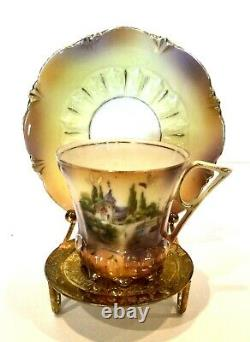 Rs Prussia Demi-tasse Cup And Saucer Castle Scene