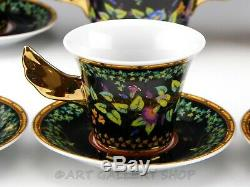 Rutherford Italy GOLD IVY DEMITASSE 6 CUP & 6 SAUCER CREAMER SUGAR BOWL SET