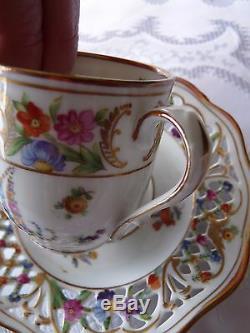 SCHUMANN Bavaria MARIE ANTOINETTE Set 4 Demitasse CUPS & SAUCERS Dresden Flowers
