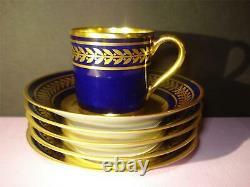 SET(5)L. BERNARDAUD, LIMOGES, France COBALT BLUE DEMITASSE CUPS&SAUCERS, GOLD LAUREL