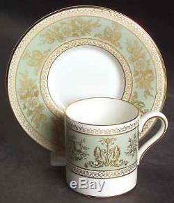 SET OF 12 Wedgwood COLUMBIA SAGE GREEN Bond Demitasse Cups & Saucers