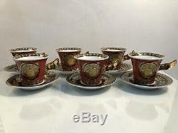SET OF 6 Rosenthal Versace Ikarus Medusa Red Demitasse Espresso Cup & Saucer