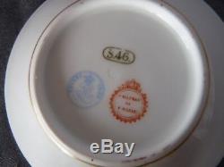 SEVRES CHATEAU DE F BLEAU c. 1846 LOUIS PHILLIPE Hunt DEMITASSE CUP & SAUCER SET
