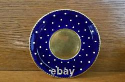 SHELLEY COBALT, GOLD with WHITE DOTS DEMITASSE CUP & SAUCER Very Rare! 13549/42