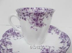 SHELLEY Purple DAINTY MAUVE Fine Bone China Demitasse Demi TEA CUP & SAUCER
