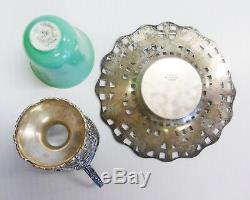 SHREVE & CO San Francisco Sterling Silver Demitasse Cup Saucer FLORAL LENOX