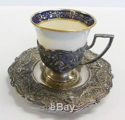SHREVE & CO San Francisco Sterling Silver Demitasse Cup Saucer LENOX