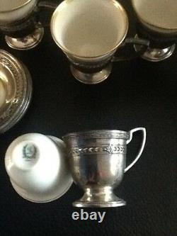 SIX (6) Vintage Sterling Silver withLenox China Demitasse Cups & Saucers