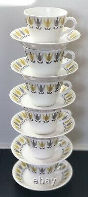 STIG LINDBERG GUSTAVSBERG Demitasse Cup & Saucer Set Of Six Lotus Gul, 1950s