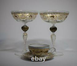 Salviati Pair of Champagne Murano Venetian Glasses & Demi Tasse Cup & Saucer