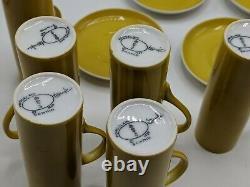 Schmid Lagardo Tackett Porcelain 6 Cups Espresso Demitasse & Saucer MCM Yellow