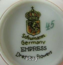 Schumann Empress Dresden Flowers (6) Demitasse Cups, 1 5/8 & (6) Saucers