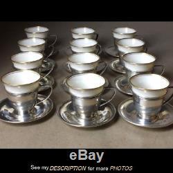 Set 12 Gorham Sterling Silver & Lenox Inserts Demitasse Cups & Saucers