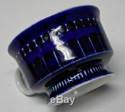 Set/ 4 Cobalt Blue ARABIA VALENCIA Demitasse Cups & Saucers Ulla Procope Finland