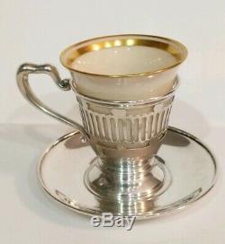 Set 6 Vintage Meriden Brittania Sterling Silver Demitasse Cup/Saucer Lenox Liner