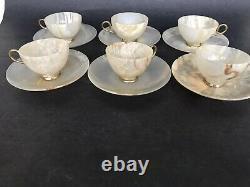 Set 6 Vtg 1950's Carved Solid Marble Alabaster Demitasse or Tea Cup Saucer 12 pc
