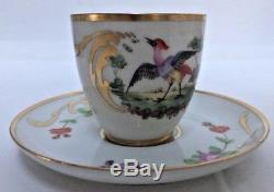 Set 7 Vintage Limoges Hand-Painted Birds & Flowers Demitasse Cups and Saucers