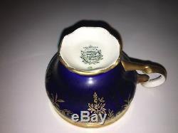 Set 8 Echt Weimar Katharina Cobalt Blue Gold Porcelain Demitasse Cup & Saucer