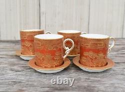 Set Four Antique 19th C W. T. Copeland Orange Gold Willow Demitasse Cup Saucer