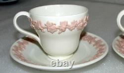 Set Of 2 Wedgwood Embossed Pink On Cream Queen's Ware Demitasse Cups & Saucers