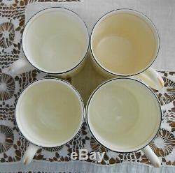 Set Of 4 Foley Cunard Line Queen Mary Art Deco Demitasse Coffee Cups & Saucers