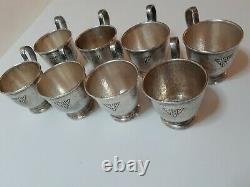 Set Of 8 Gorham Sterling & Lenox Demitasse Cups And Saucers