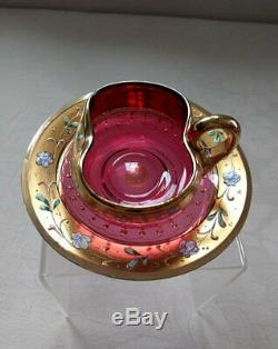 Set Of 8 Moser Cranberry Demitasse Cups And Saucers