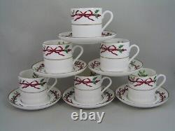 Set Of Six Royal Worcester Holly Ribbons Demitasse Coffee Cups/cans And Saucers
