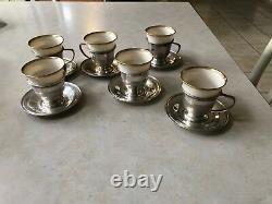 Set of 12 Lenox Sterling Demitasse Cups & Saucers Tea Espresso Coffee