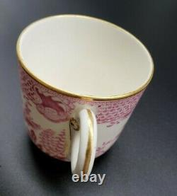 Set of 4 Antique Royal Worcester Demitasse Cup Saucer Pink Gold Chinoiserie 1889