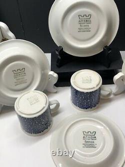 Set of 4 Arabia Finland Faenza Arabia Demitasse Cups & Saucers Sinikukka