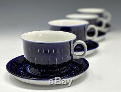 Set of 4 Arabia Finland VALENCIA Demitasse Cup & Saucer ULLA PROCOPE Cobalt Blue