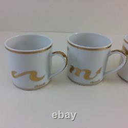 Set of 4 Christofle France Porcelain Demitasse Espresso Cup Saucer Gold Rim NEW