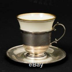 Set of 4 Lenox Porcelain & Sterling Silver Demitasse Espresso Cup & Saucer Set
