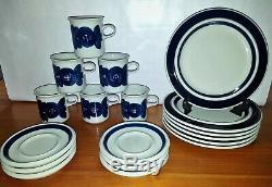 Set of 6 Arabia Finland ANEMONE BLUE Demitasse Cup + Saucer + dessert plates