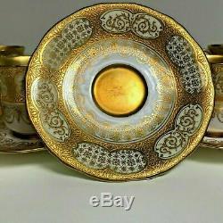Set of 6 Fine Coalport Gold Encrusted Demitasse Cup & Saucer