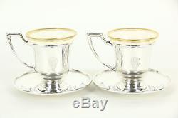 Set of 6 Sterling Silver Vintage Demitasse Coffee Cups & Saucers, Lenox Liners