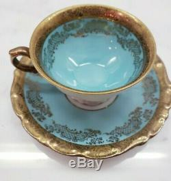 Set of 6 Turquoise Gilt Demitasse Cup and Saucer