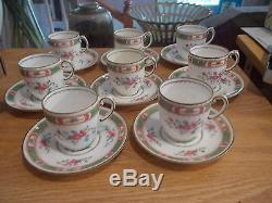 Set of 8 COALPORT French Noble Demitasse Cups & Saucers Green & Pink Band