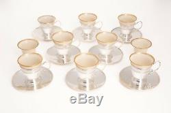 Set of 8 Tiffany & Co Antique 925 SS Demitasse Cups & Saucers w Porcelain Liners