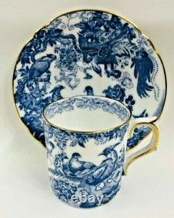 Set of 8 Vintage Royal Crown Derby Demitasse Cups and Saucers BLUE AVES