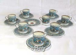 Set of 8 Wedgwood Florentine Turquoise Blue Bond Shape Demitasse Cups & Saucers
