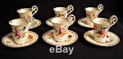 Set of six Dresden Flowers Demi tasse Cups and saucers Hand Painted Antique