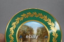 Sevres Style Hand Painted Chateau de Pau & Grille de Saint-Cloud Demitasse Cup