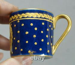 Sevres Style Raised Gold Roses Laurel Leaf & Cobalt Demitasse Cup & Saucer