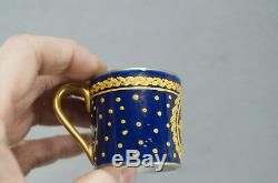 Sevres Style Raised Gold Roses Laurel Leaf & Cobalt Demitasse Cup & Saucer C1900