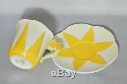 Shelley England 11993 Demitasse Cup and Saucer Set Yellow Floral Handle Rare