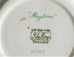Shelley Fine Bone China Maytime Demitasse Cup and Saucer Chintz Gold Foot Ripon