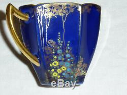 Shelley Queen Anne demitasse cup and saucer COBALT 11627 ARCHWAY OF ROSES