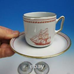 Spode Copeland England Red Trade Winds Coffee Pot, 4 Demitasse Cups & Saucers
